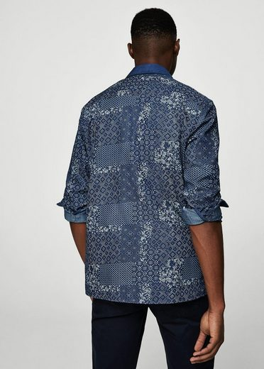 Mango One Regular Fit-jean Shirt With Floral Dessin