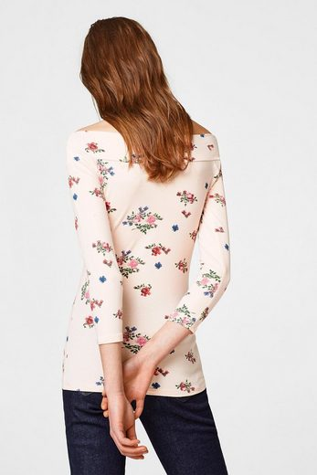 EDC BY ESPRIT Off-Shoulder-Shirt mit Rosen-Print