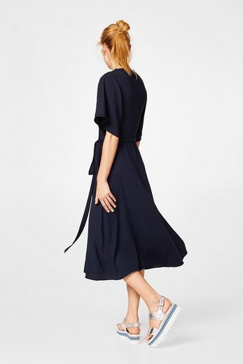 ESPRIT COLLECTION Crépe-Kleid in Midi-Länge mit Wickeleffekt