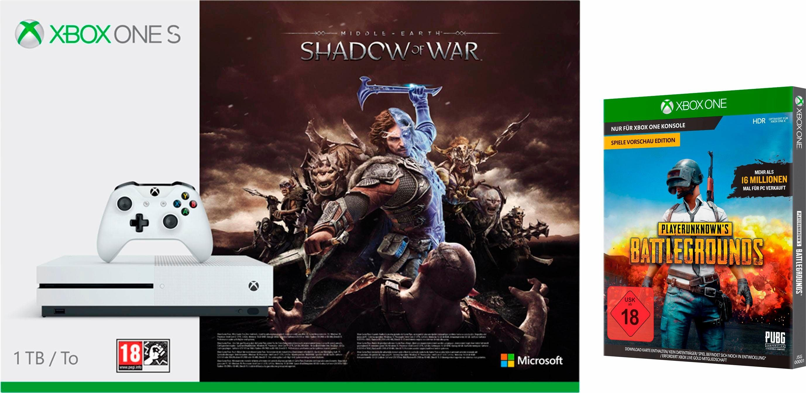 """Xbox One S 1TB (Shadow of War Konsolen Bundle, inkl. Spiel: Playerunknown's Battleground """"PUBG"""" Game Preview Edition)"""
