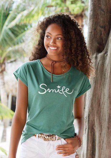 Beachtime T-Shirt mit modischem Frontdruck