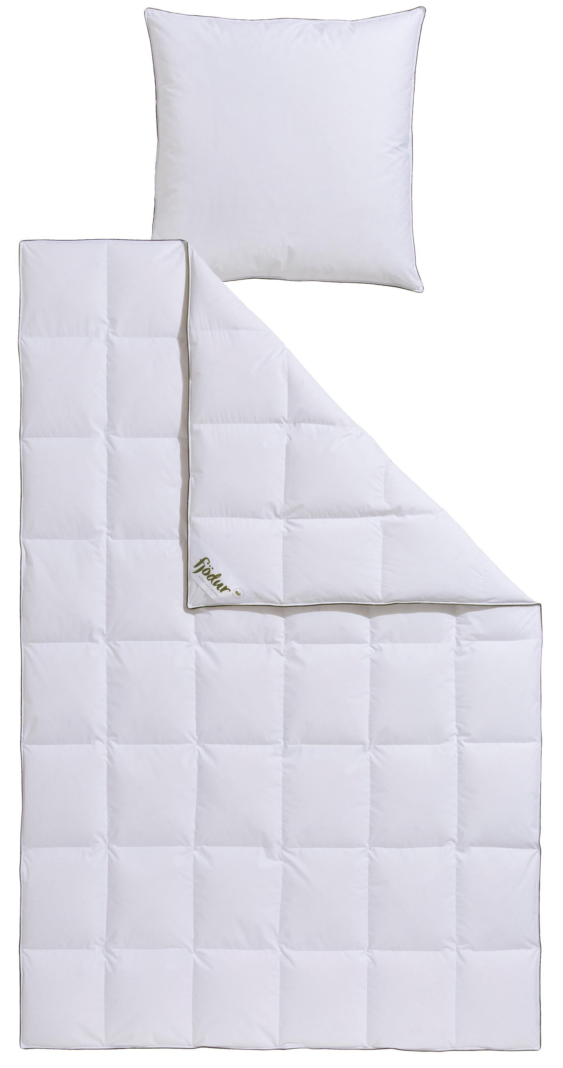 Daunenbettdecke + Federkissen, »Felix«, fjödur, Normal, 90% Daunen, 10% Federn, 100% Baumwolle, ausgezeichnt mit dem Siegel ´´MILBEN-BARRIERE´´ | Heimtextilien > Decken und Kissen > Bettdecken | Federn | fjödur