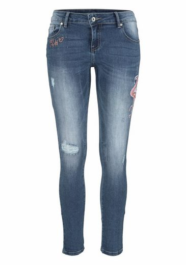 Hailys Skinny-fit Jeans Fine, Rhinestones With Embroidery And
