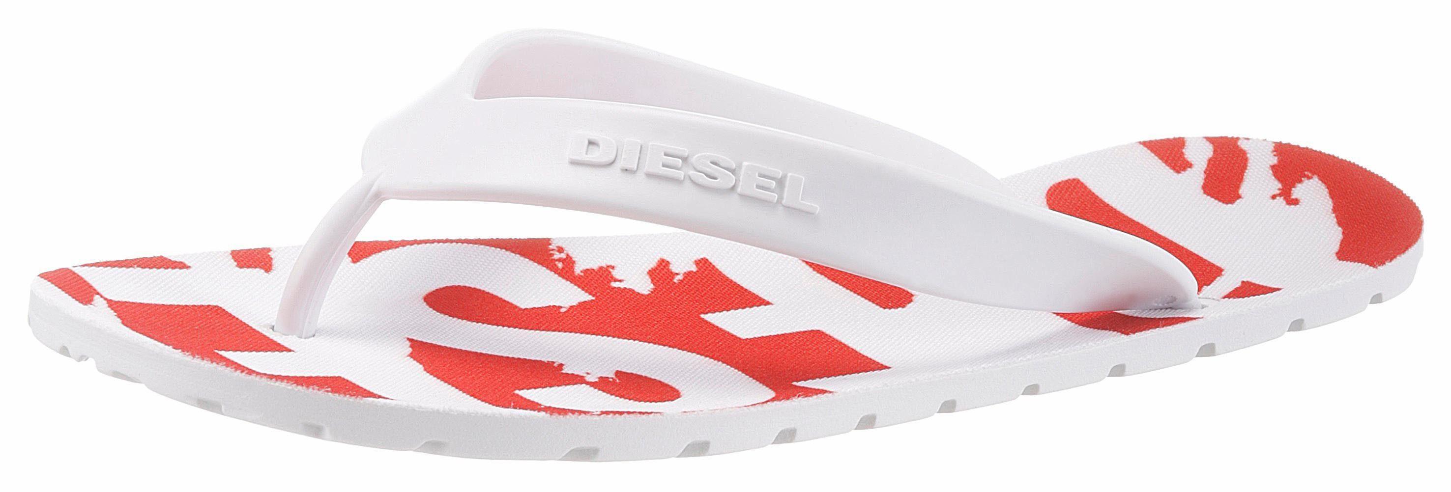 Diesel »S-Lohaa Sa-Maral W« Pantolette, mit bedruckter, breiter Bandage, rot, EURO-Größen, rot-weiß