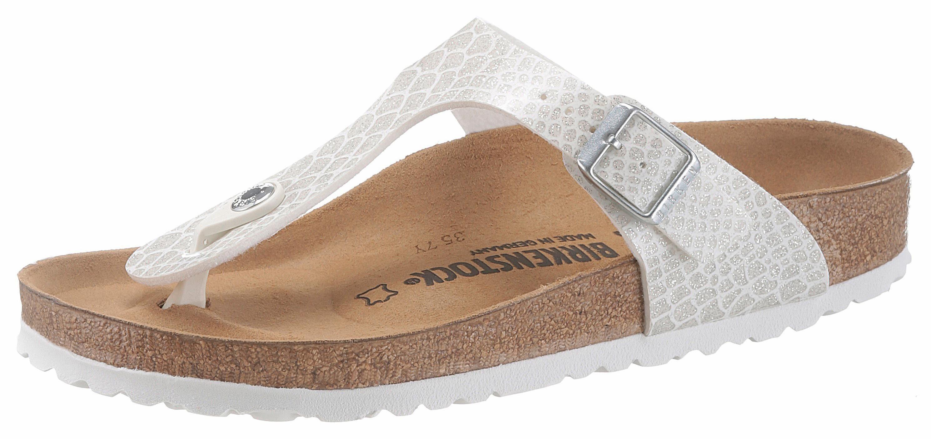 Birkenstock Gizeh Zehentrenner, in schmaler Schuhweite, mit Reptilprägung online kaufen  weiß