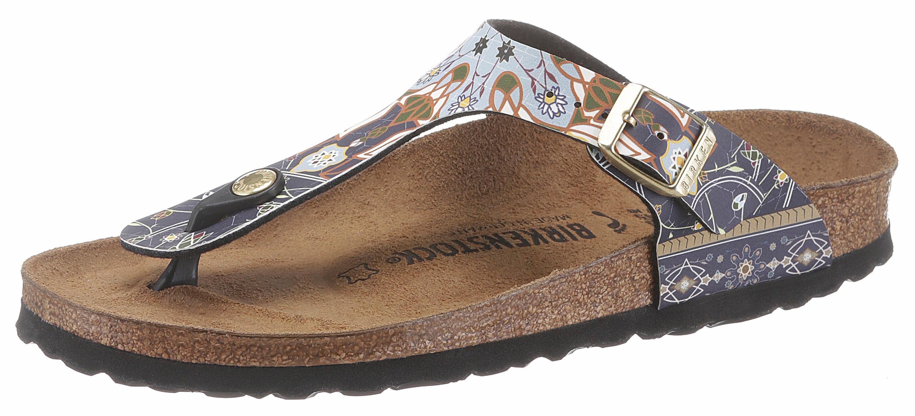 Birkenstock Gizeh Zehentrenner, in schmaler Schuhweite, mit modischem Muster online kaufen  navy-hellblau