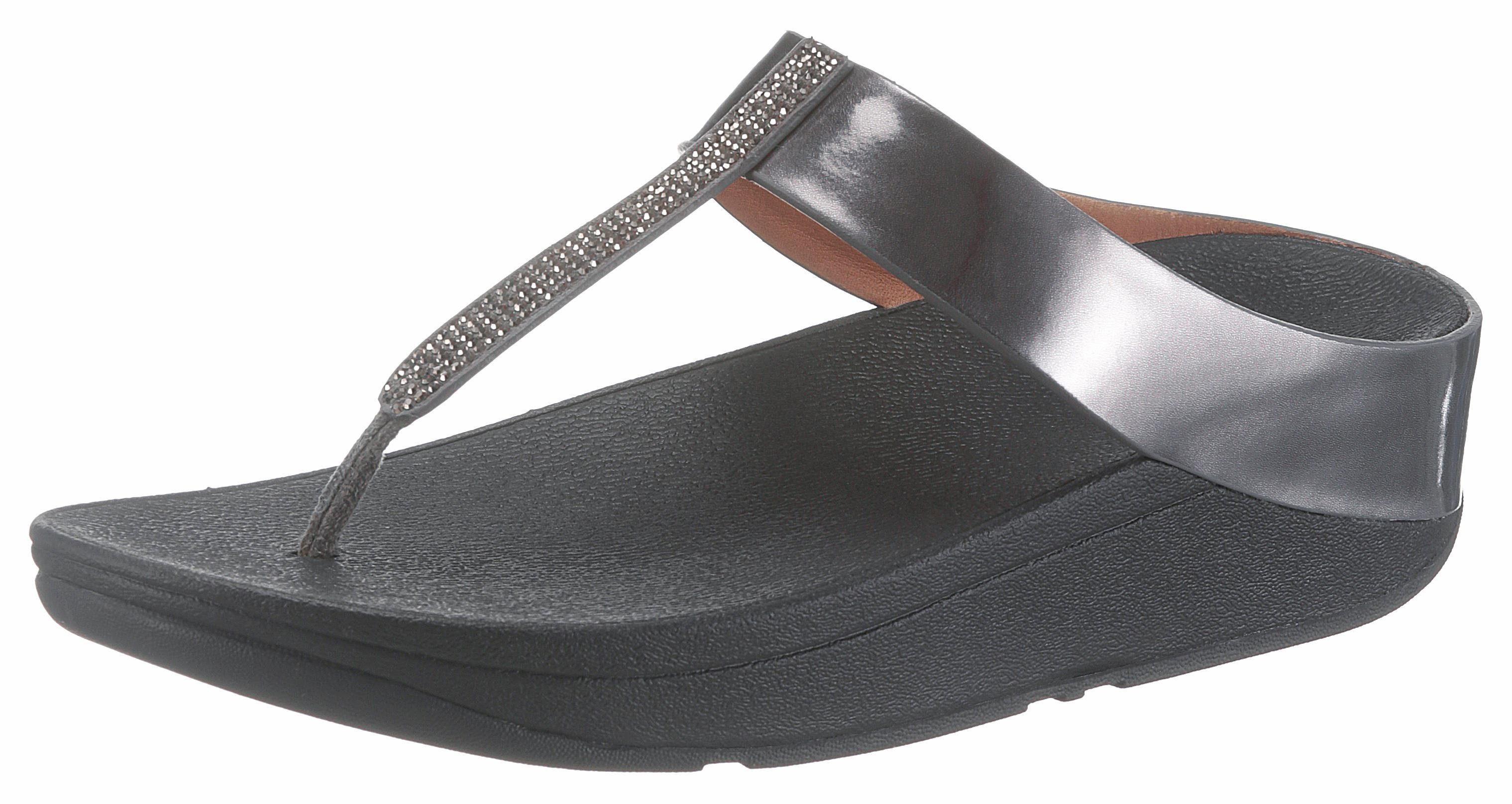 Fitflop Fino Crystal Toe-Thong Sandals Zehentrenner, im Metallic-Look online kaufen  altsilberfarben-schwarz