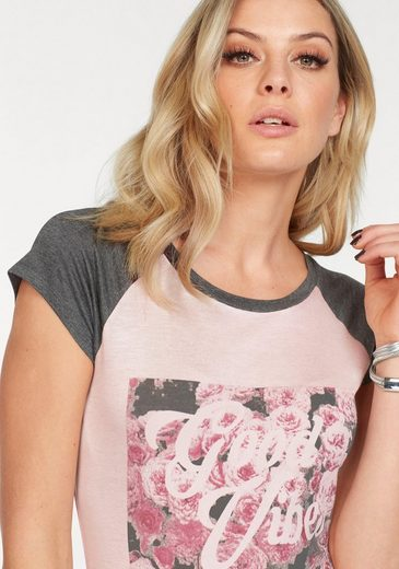 HaILYS T-Shirt VIBES, mit floralem Print