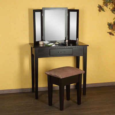 Mucola Schminktisch »Schminktisch Kosmetiktisch Frisiertisch 3tlg. Hocker Spiegel Braun Gepolsterter Set Kommode Unterteiler Luxuriös Make-up-Organizer« (3-St), Klappbare Außenspiegel