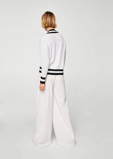MANGO Pullover mit kontrastierendem V-Ausschnitt