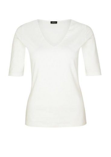 s.Oliver BLACK LABEL Stretchshirt mit V-Neck