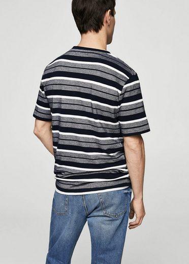 MANGO MAN Gestreiftes Baumwoll-Shirt