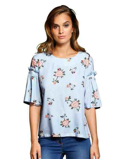 Alba Moda Bluse mit Rüschenkante am ausgestellten Arm