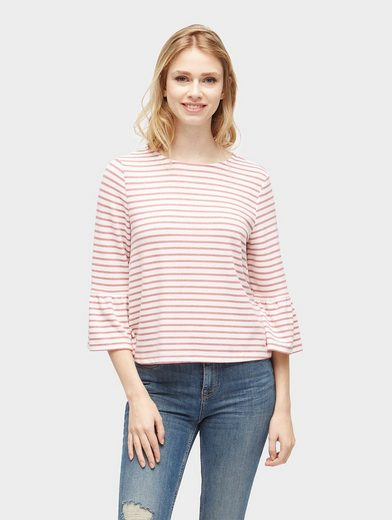Tom Tailor Denim Sweatshirt Striped Shirt With Volant Sleeves