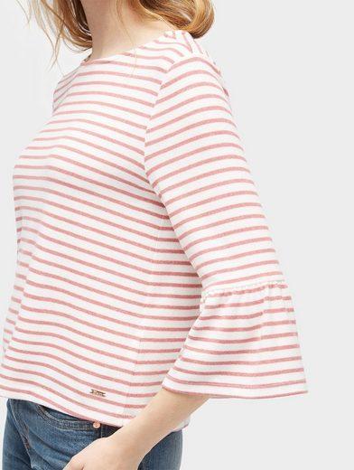 Tom Tailor Denim Sweatshirt gestreiftes Shirt mit Volantärmeln