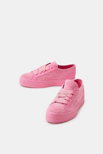 ESPRIT Flatform-Sneaker aus Veloursleder