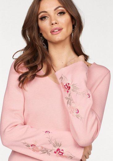 Melrose V-Ausschnitt-Pullover, mit Blüten Stickerei