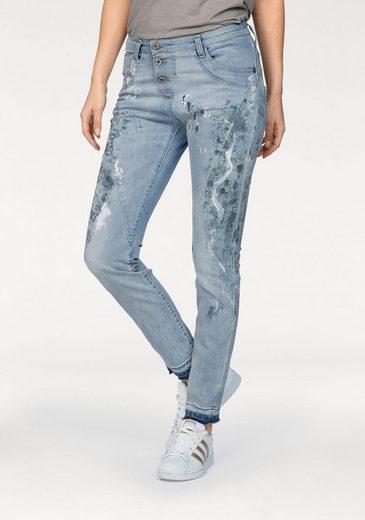 Please Jeans Boyfriend-Jeans P78A, im bedrucktem Design