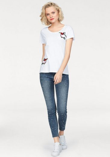 Coccara T-Shirt BIRDY, mit modischen Badges in Vogel-Optik