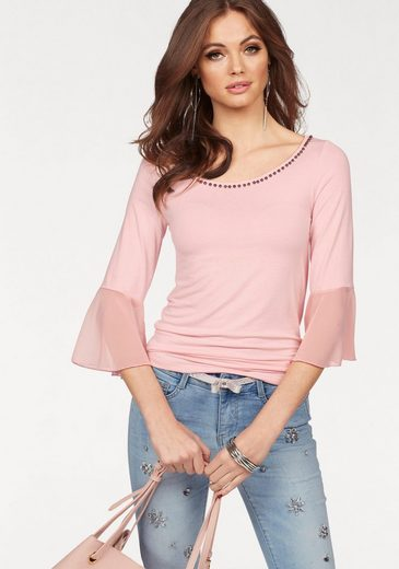 Melrose Crew-neck Shirt, With Decorative Beads And Chiffon Volant