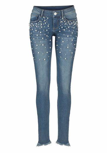 Melrose Skinny-fit-Jeans, mit Perlen Deko