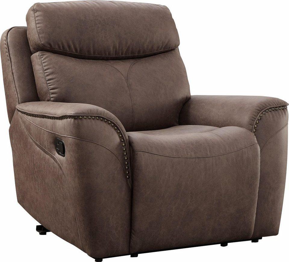 home affaire sessel pius mit relaxfunktion und nieten. Black Bedroom Furniture Sets. Home Design Ideas