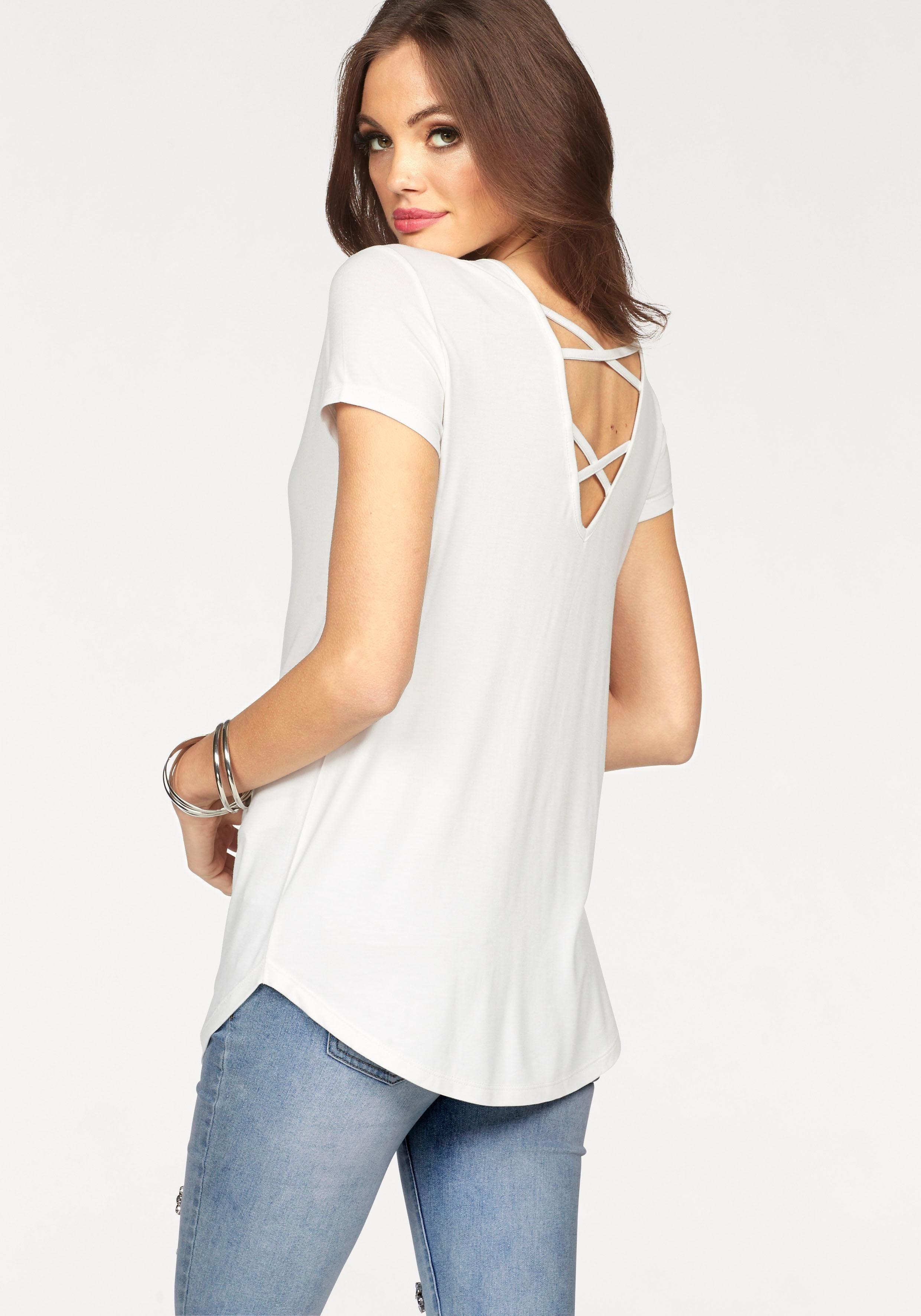 Melrose Rundhalsshirt mit gekreuztem Rückenausschnitt