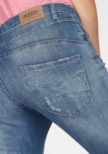 Please Jeans Boyfriend-Jeans P46M, mit schräger Knopfleiste