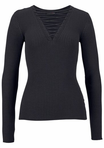Melrose V-Ausschnitt-Pullover, mit Schnürung