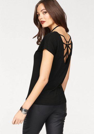Melrose Rundhalsshirt, mit dekorativem Rückenausschnitt