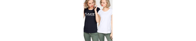 Please Jeans T-Shirt, mit Logoprint und in Uni