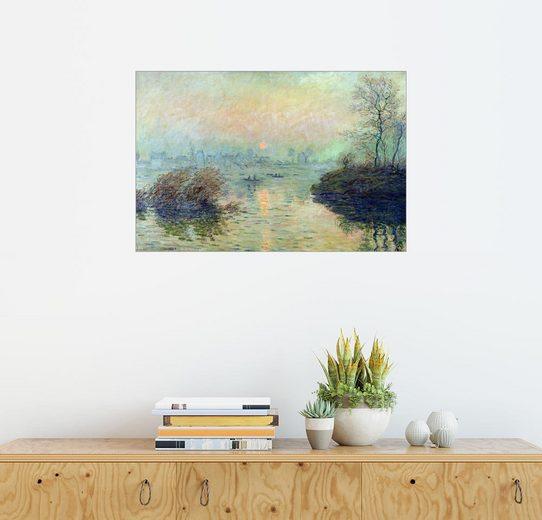 Posterlounge Wandbild - Claude Monet »Sonnenuntergang über der Seine bei Lavacourt....«