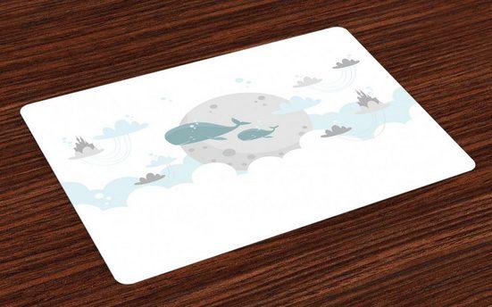 Tischdecke, »Waschbare Stoff Esszimmer Küche Tischdekorations Digitaldruck«, Abakuhaus, (4-teilig, 4 Teilig-St., Set aus 4x), skandinavisch Wale Mond Schlösser