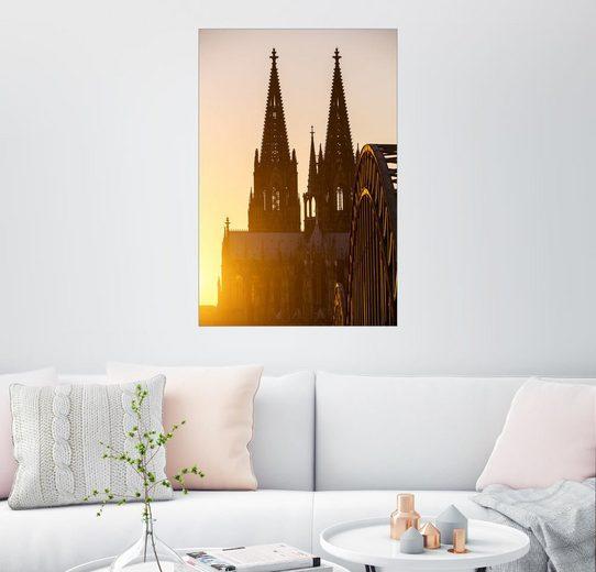 Posterlounge Wandbild »Sonnenuntergang hinter dem Kölner Dom«