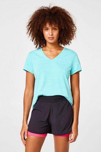 ESPRIT Meliertes Active-Shirt mit V-Neck, E-DRY