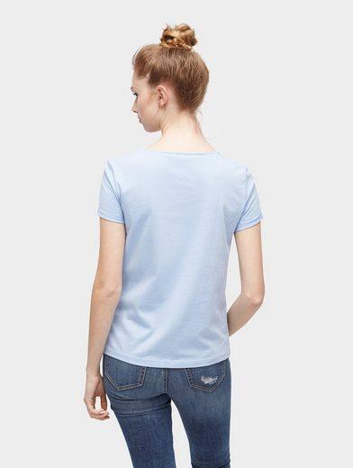 Tom Tailor Denim T-Shirt T-Shirt mit Schnürung am Ausschnitt