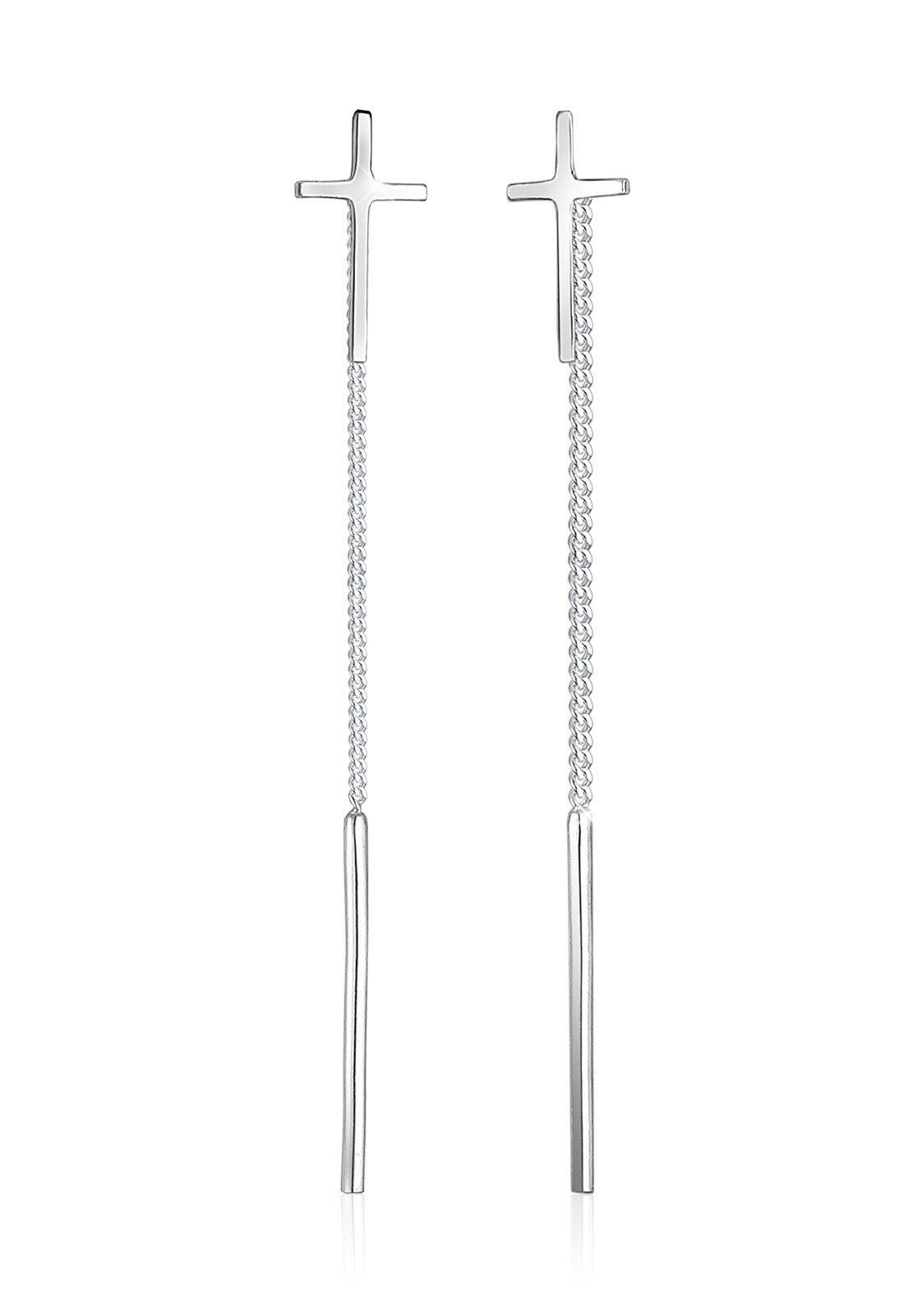 Elli Ohrringe »Hänger Kreuz Geo Trend Minimal 925 Silber Croix«