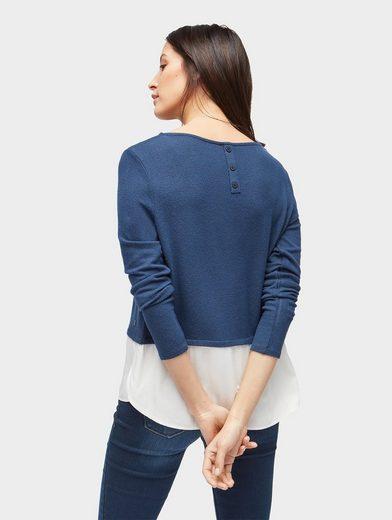 Tom Tailor Langarmshirt Shirt mit Underlayer aus Voile