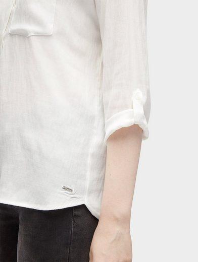 Tom Tailor Denim Shirtbluse schlichte Bluse mit Brusttasche