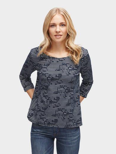 Tom Tailor Sweatshirt gestreiftes Shirt mit Print