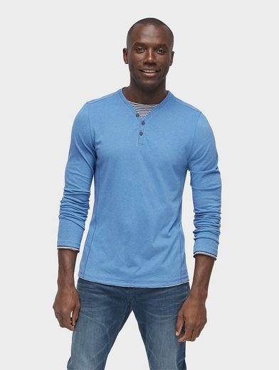 Tom Tailor Langarmshirt Shirt mit gestreiftem Underlayer
