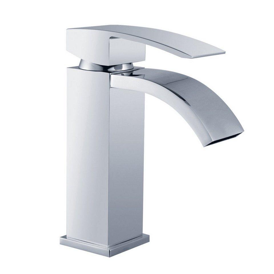 Aufsatzwaschbecken Glaswaschbecken 56x37 cm Wasserfall Waschtischarmatur SCHWARZ