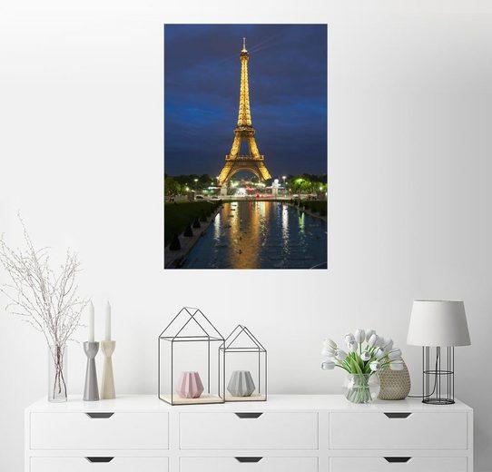 Posterlounge Wandbild - Richard Nebesky »Eiffel Tower and reflection at twilight, Pari...«