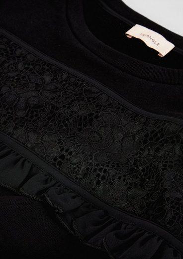 TRIANGLE Sweatkleid mit Spitze und Rüschen