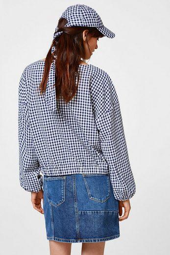 ESPRIT Vichykaro-Bluse mit elastischen Bündchen