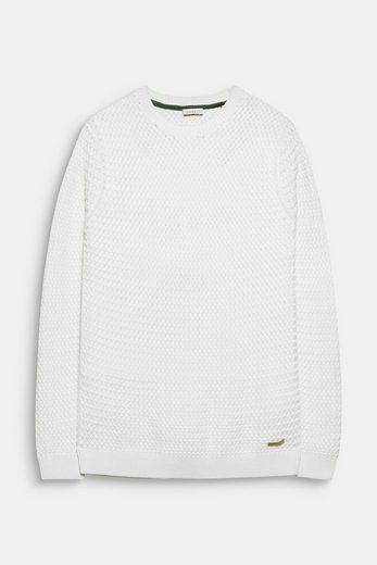 ESPRIT Pullover in Flecht-Optik, 100% Baumwolle