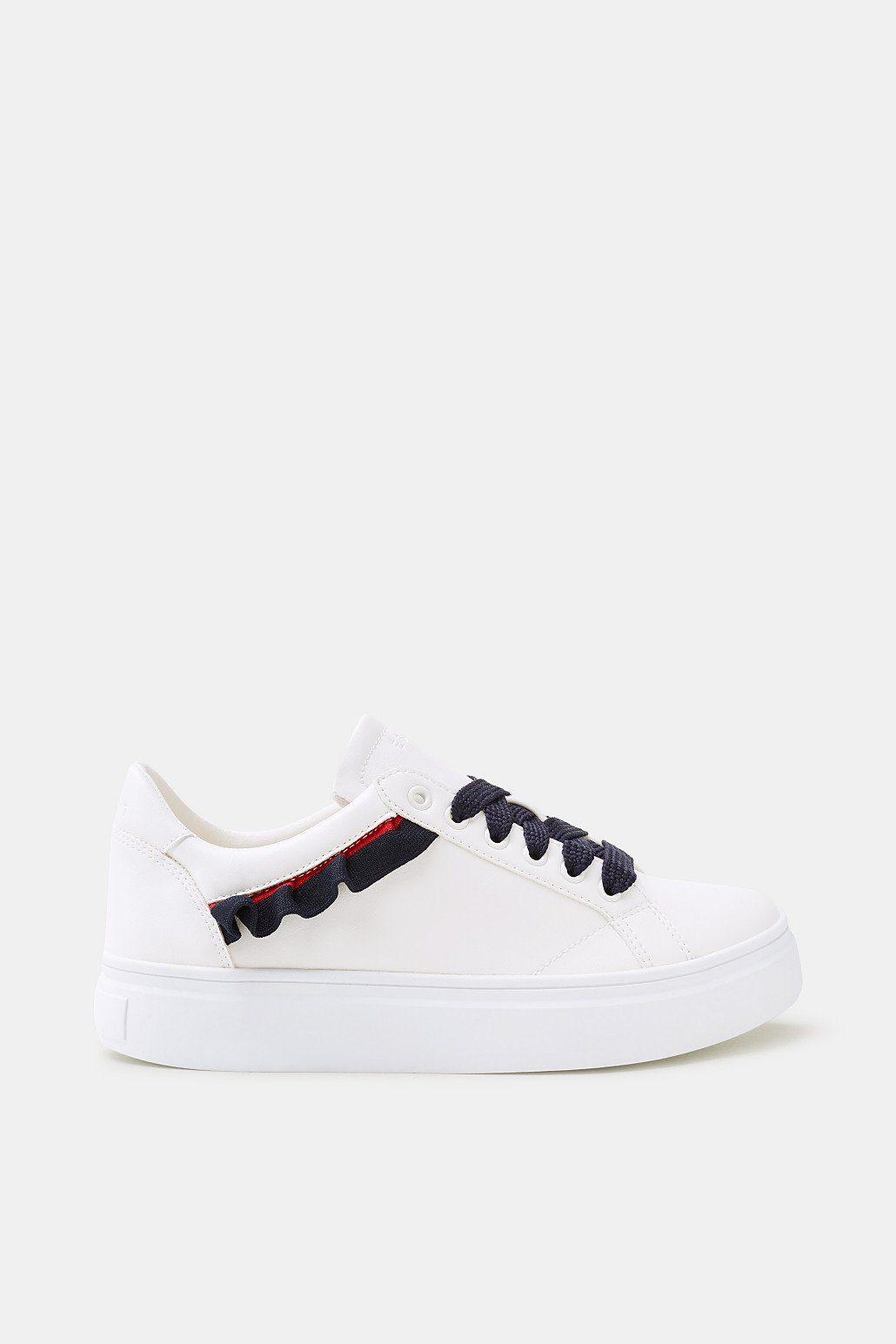 Esprit Trend-Sneaker mit Rüschen-Details für Damen, Größe 36, White