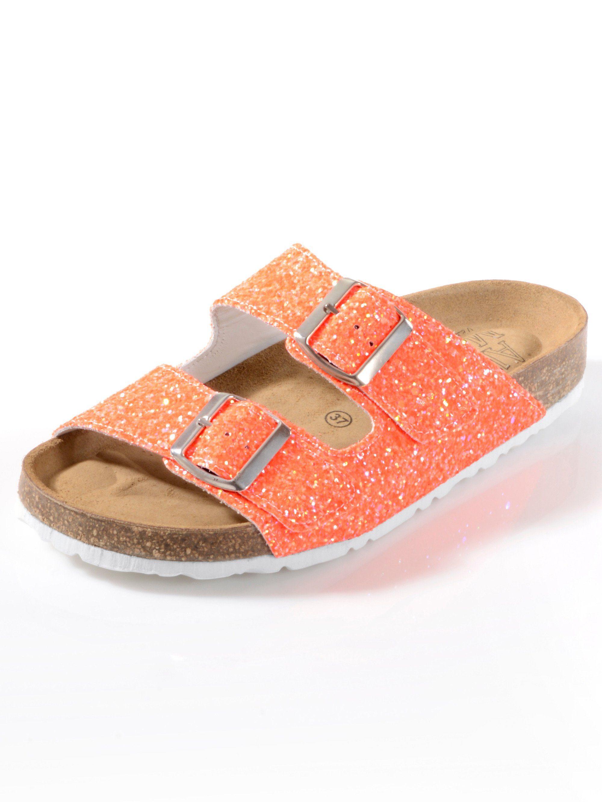 Alba Moda Pantolette mit Glitter besetzt kaufen  orange
