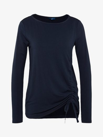 Tom Tailor Langarmshirt Shirt mit Tunnelzug und Bindeband