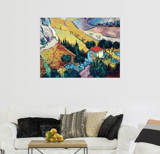 Posterlounge Wandbild - Vincent van Gogh »Landschaft mit Haus und Pflüger«